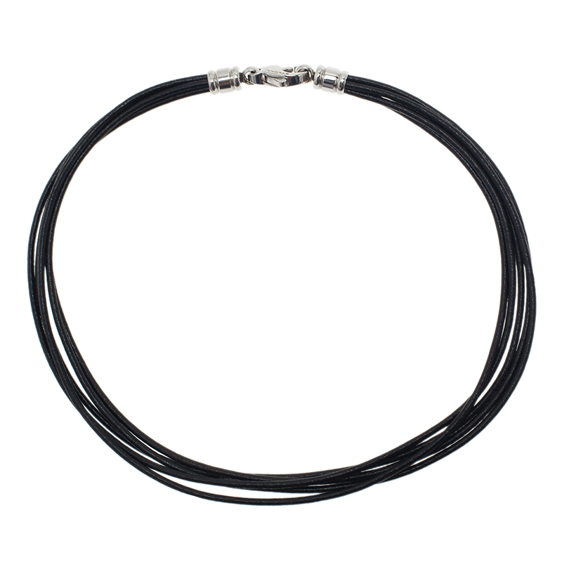 Bvlgari Black Leather Cord Necklace