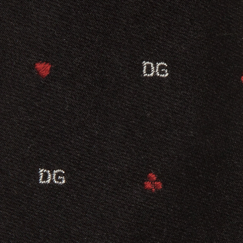 Dolce and Gabbana Black Silk Logo Skinny Tie