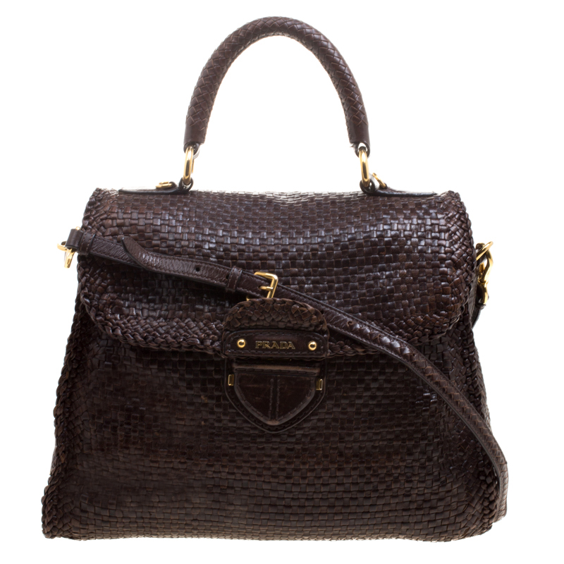 8c094d67d570 ... low cost prada dark brown woven goatskin leather madras top handle bag.  nextprev. prevnext ...