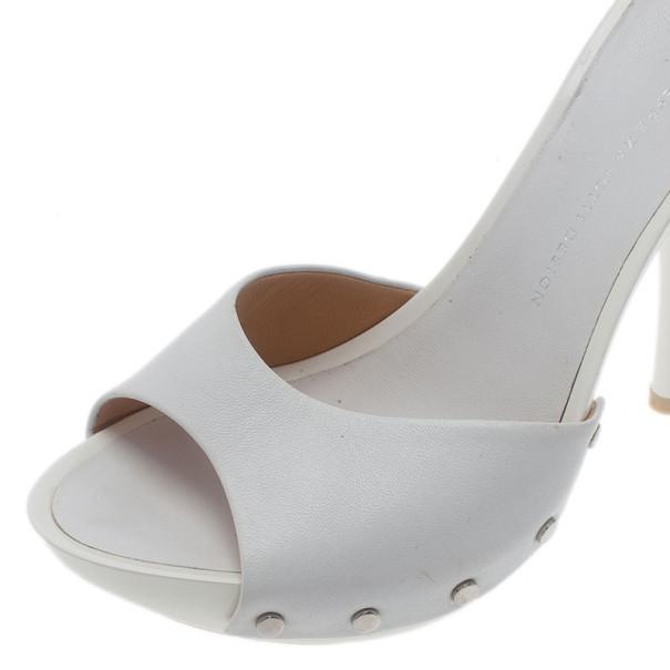 Giuseppe Zanotti White Leather Mules Size 36