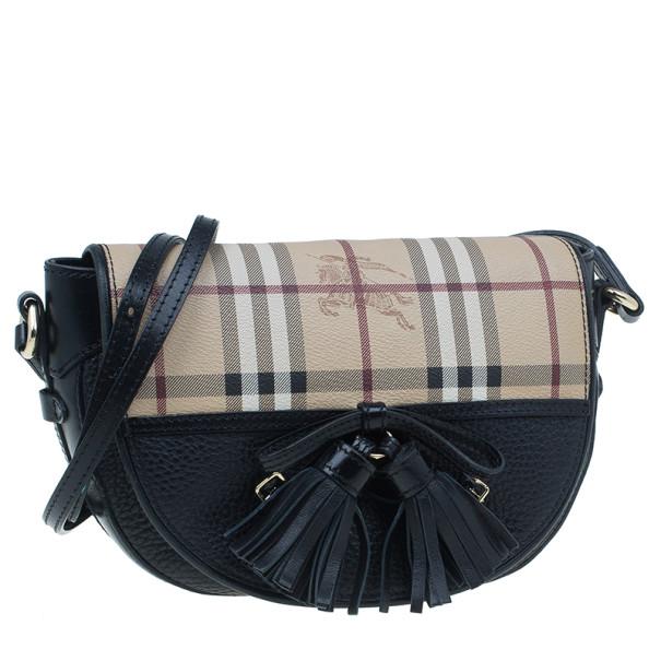 Burberry Black Haymarket Leather 'Maydown' Crossbody Bag