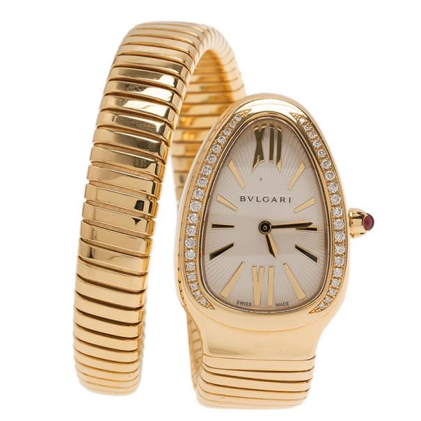 Bvlgari Grey 18K Yellow Gold Serpenti Tubogas Women's Wristwatch 21MM
