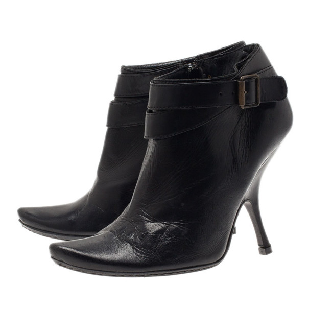 Alexander McQueen Black Leather Ankle Booties Size 38