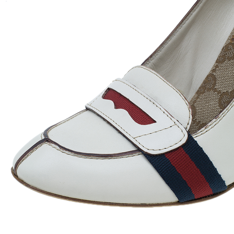 Gucci White Leather Lifford Penny Loafer Pumps Size 38.5