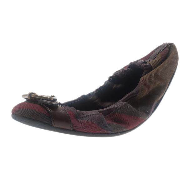 Burberry Tricolor Canvas Buckle Detail Ballet Flats Size 38