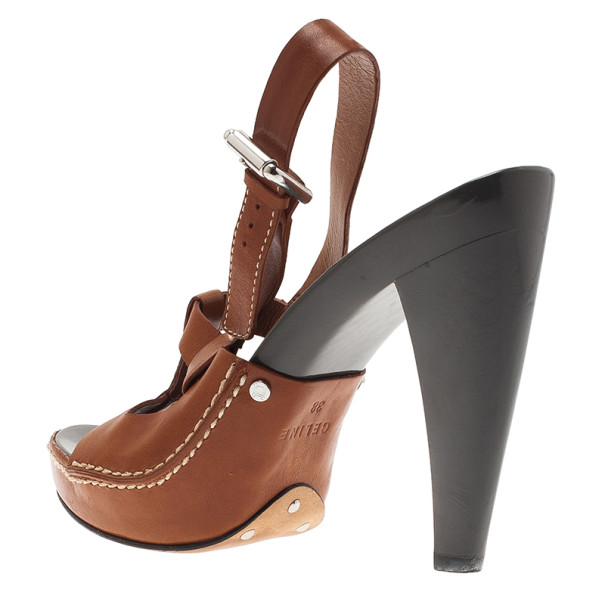 Celine Brown Leather Slingback Sandals Size 38