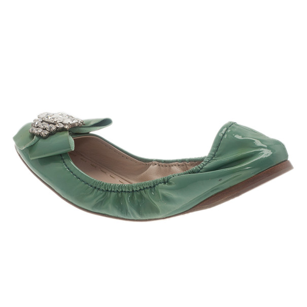 Miu Miu Green Patent Leather Jeweled Ballet Flats Size 41