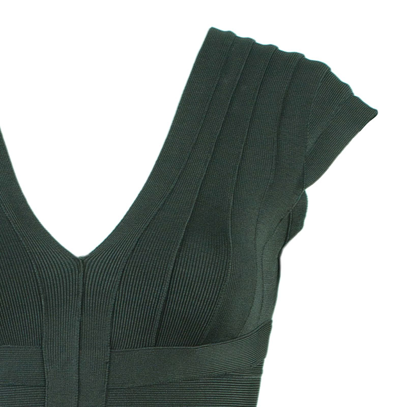 Herve Leger Shadow Cap Sleeve Bandage Dress S
