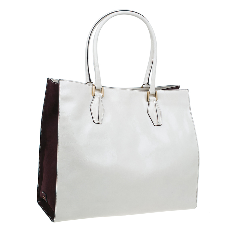 Tod's Cream/Burgundy Glazed Leather Grand Shopping Tote Bag
