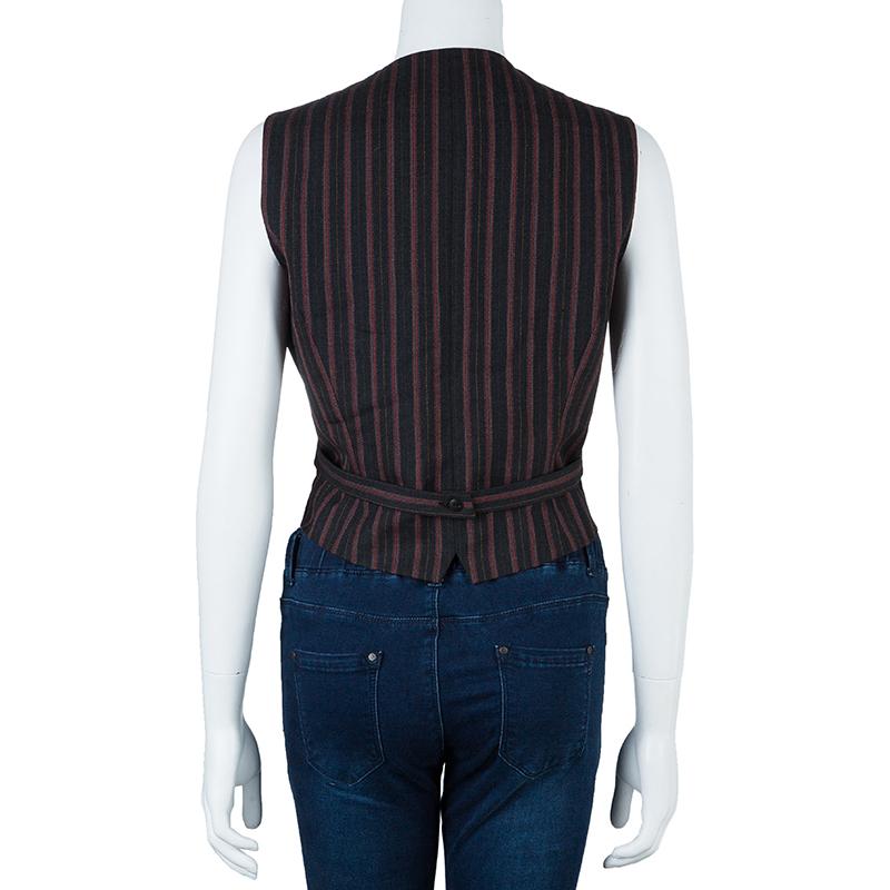 Kenzo Black Striped Vest L