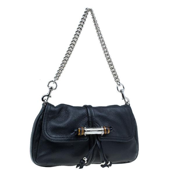 Gucci Black Leather Small Jungle Shoulder Bag