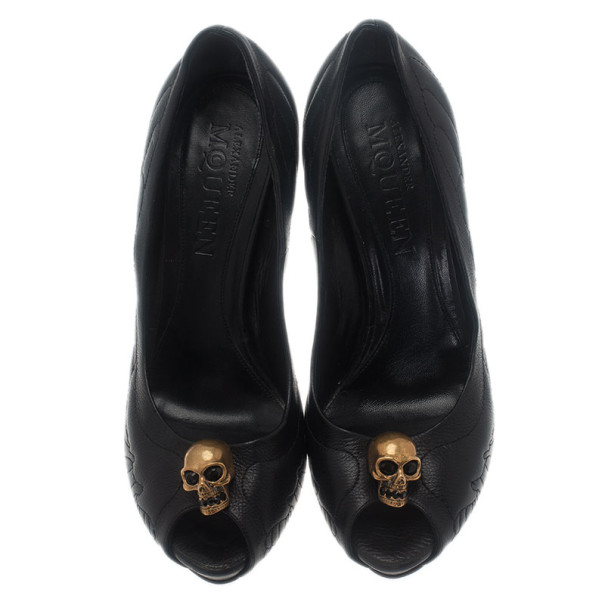 Alexander McQueen Black Studded Leather Skull Peep Toe Pumps Size 41