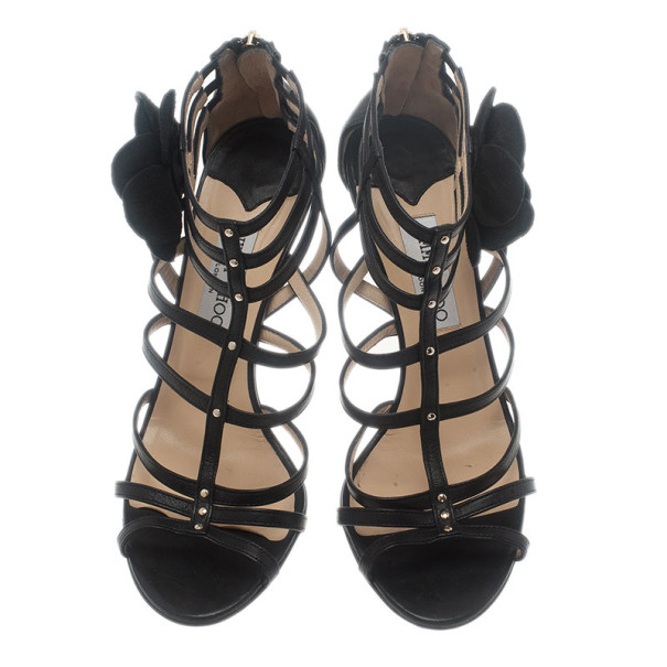 Jimmy Choo Black Leather Floral Detail Opulence Gladiator Sandals Size 41
