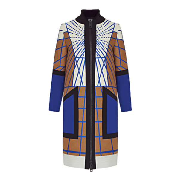 Peter Pilotto Color-Block Printed Woolen Coat S