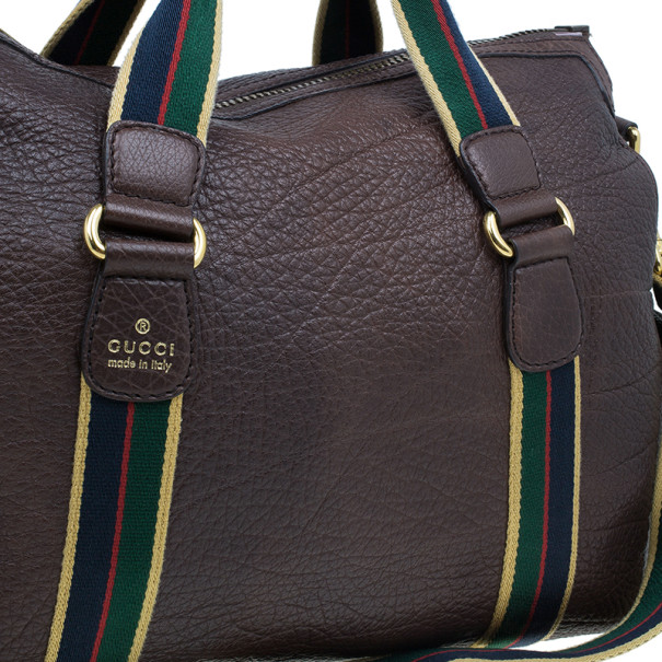 Gucci Brown Leather Travel Bag