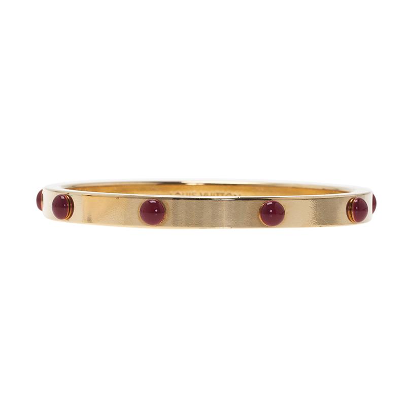 Louis Vuitton Gimme A Clue Gold Tone Bangle Bracelet