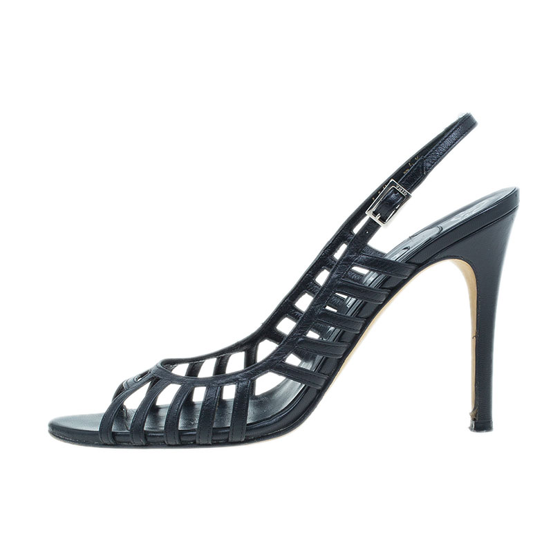Gina Black Leather Caged Slingback Sandals Size 38.5