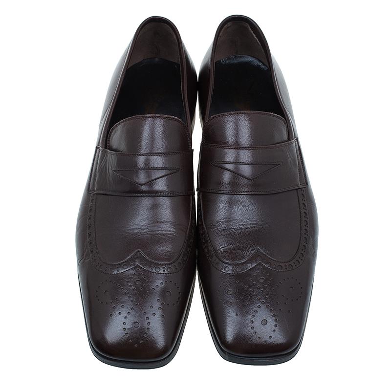 Saint Laurent Paris Brown Brogue Leather Penny Loafers Size 40.5