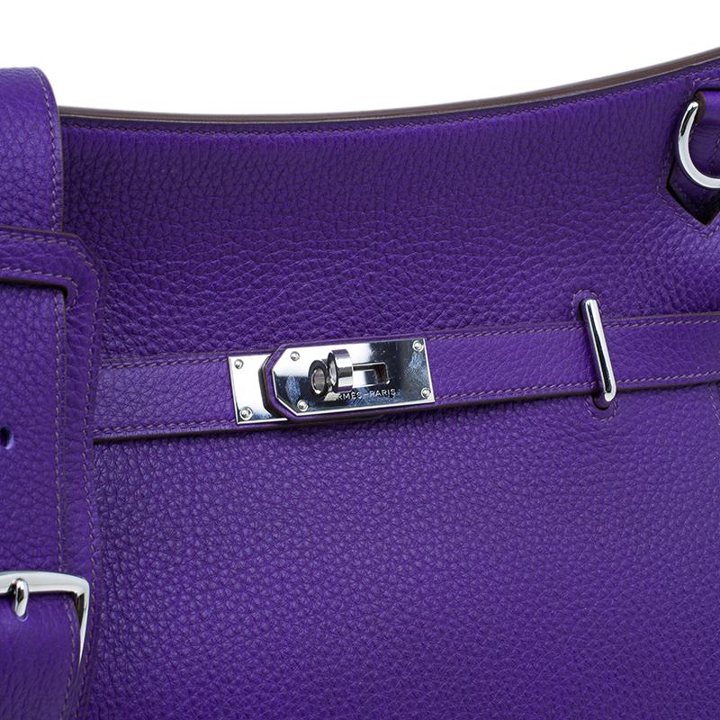 Hermes Purple Clemence Taurillon Jypsiere Messenger Bag 34CM