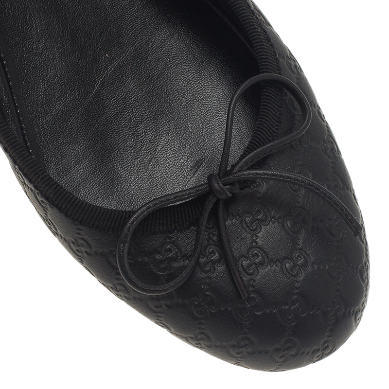 Gucci Black Guccissima Leather Bow Detail Ballet Flats Size 38.5