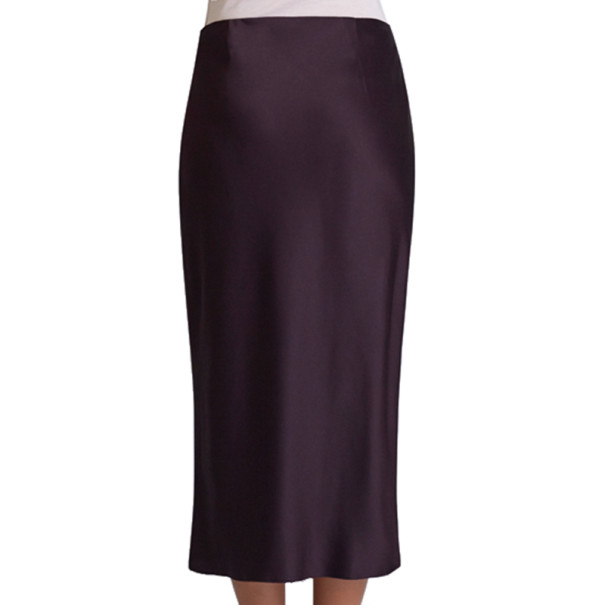 Jason Wu Aubergine Draped Tie-Bar Midi-Skirt S