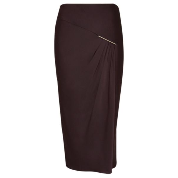 Jason Wu Aubergine Draped Tie-Bar Midi-Skirt S