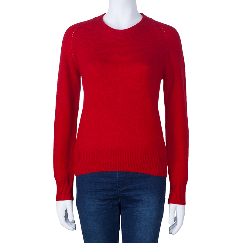 Burberry Red Crewneck Cashmere Knit Sweater M
