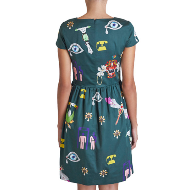 Mary Katrantzou Julie Green Printed Dress M