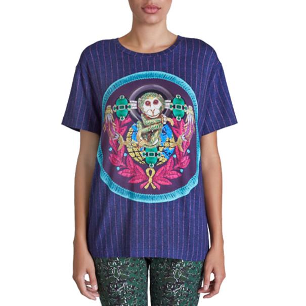 Mary Katrantzou Navy Printed T-Shirt L