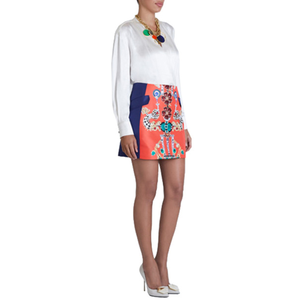 Mary Katrantzou Kalion Red and Navy Printed Skirt M