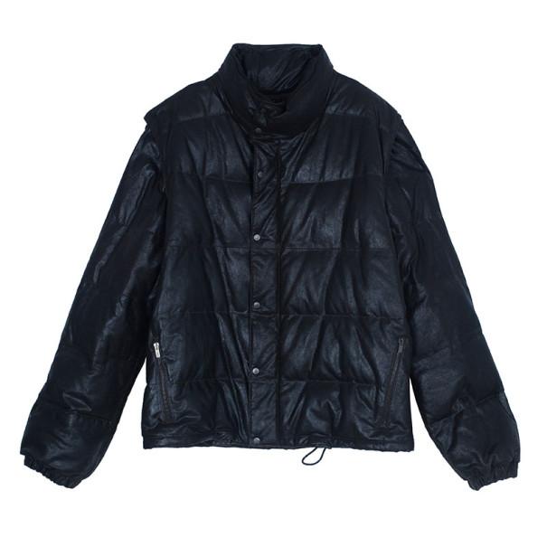 Fendi Dark Brown Leather Puffer Jacket L