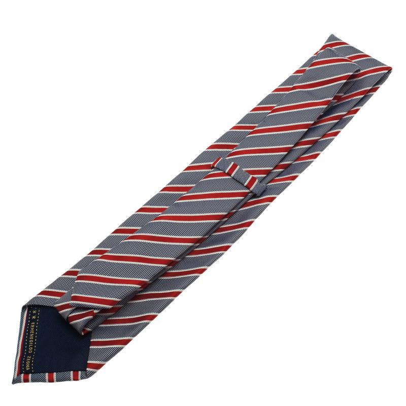Ermenegildo Zegna Blue and Red Striped Tie