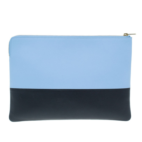 Celine Blue Leather Solo Clutch
