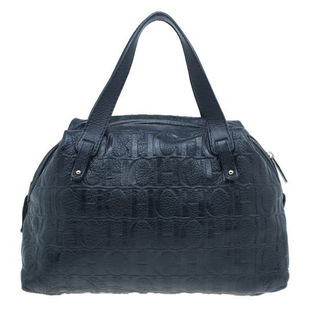 Carolina Herrera Black Monogram Leather Tote Bag