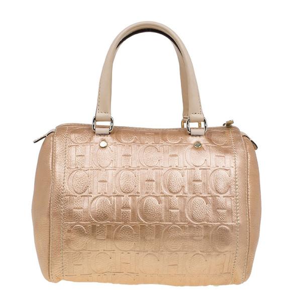 Carolina Herrera Metallic Leather Medium Andy Boston Bag