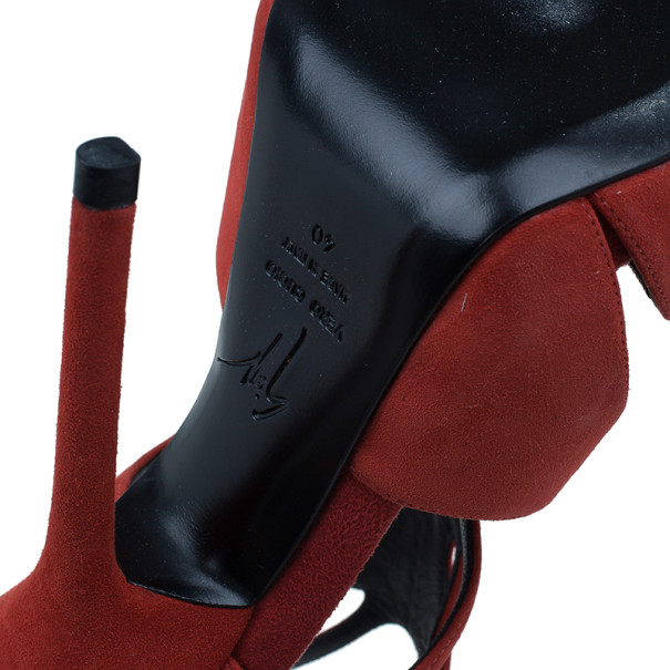 Giuseppe Zanotti Red Suede Butterfly Cutout Sandals Size 40