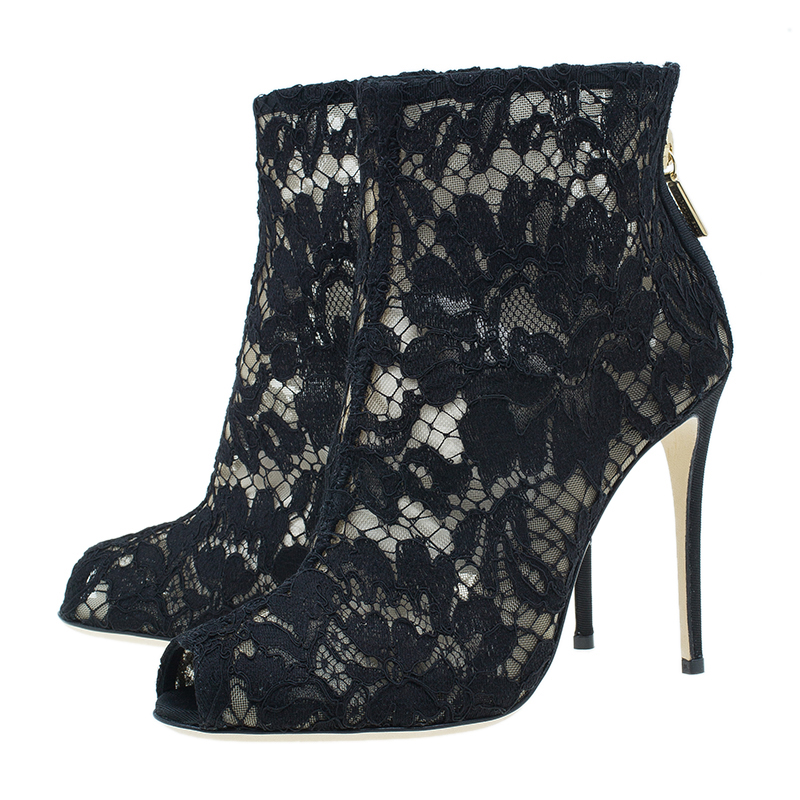 Dolce and Gabbana Black Lace and Mesh Ankle Boots Size 36