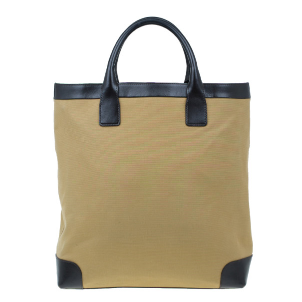 Gucci Beige Canvas and Leather Vertical Web Tote