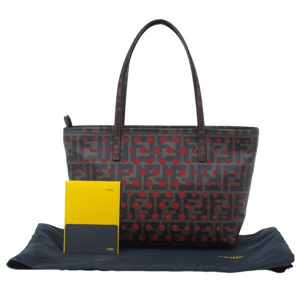 Fendi Brown Tobacco Zucca Spalmati Mini Roll Perforated Tote