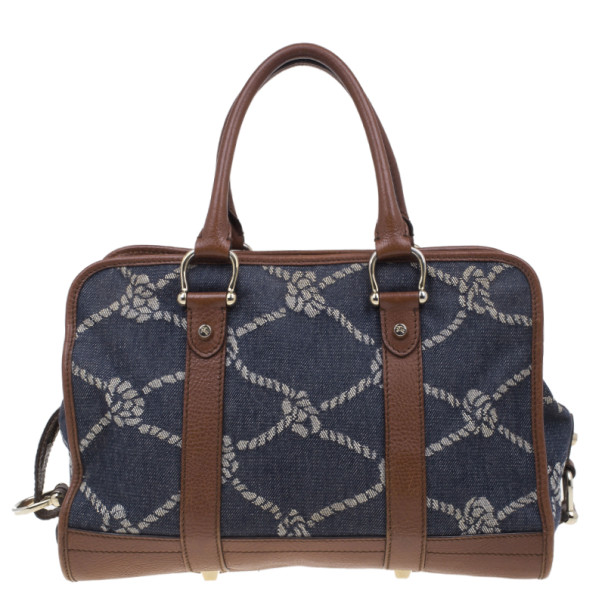 Burberry Denim and Leather Patterned Satchel