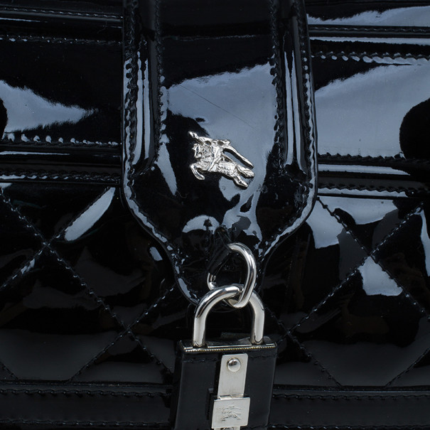 Burberry Black Quilted Patent Manor Satchel