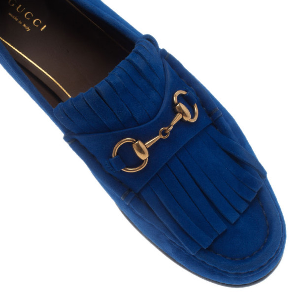 Gucci Blue Suede Fringe Loafers Size 39.5