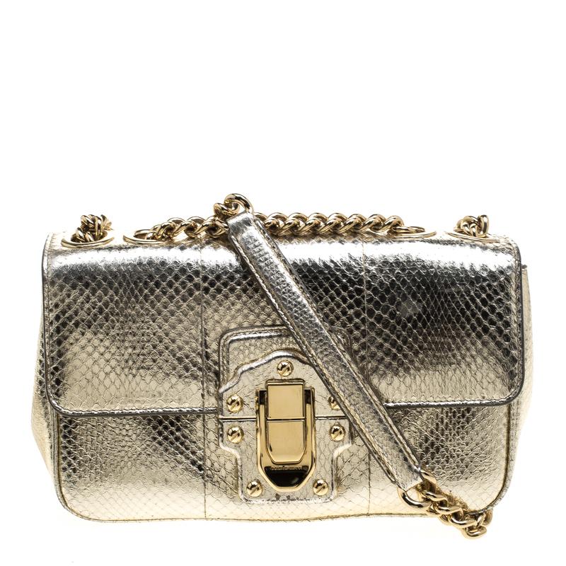 ec4817e9f704 Dolce and Gabbana Metallic Gold Python Lucia Chain Shoulder Bag. nextprev.