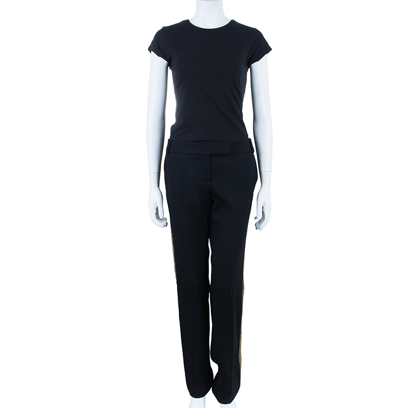 Chloe Black Zardozi Embroidered Trousers M