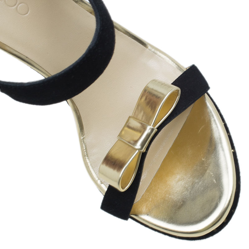 Jimmy Choo Black and Gold Nice Wedge Sandals Size 39.5