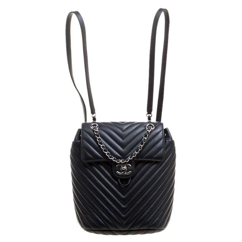 94deb036e983 Chanel Black Chevron Quilted Leather Small Urban Spirit Backpack Nextprev  Prevnext