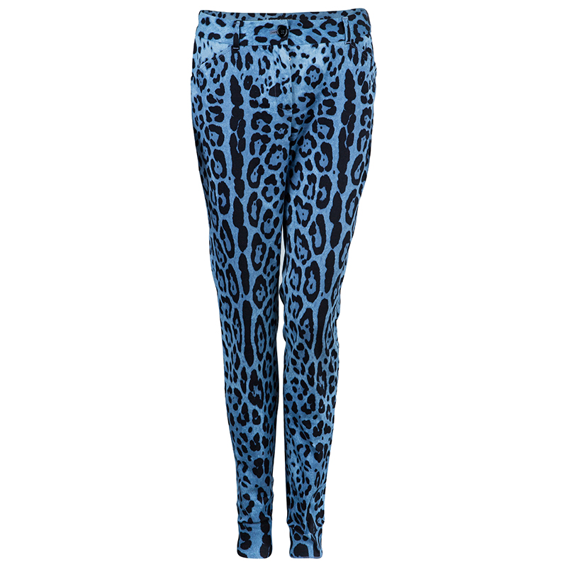 Dolce And Gabbana Blue Leopard Print Trousers S