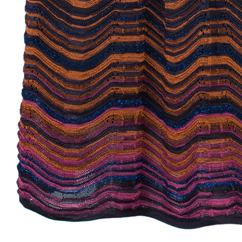 M Missoni Multicolor Wave Knit Short Dress L