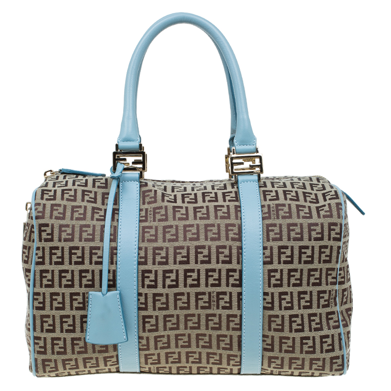 ad150a050d ... sweden fendi blue and beige zucchino canvas forever bauletto boston bag.  nextprev. prevnext 9275a good fendi kan i small canvas and leather ...