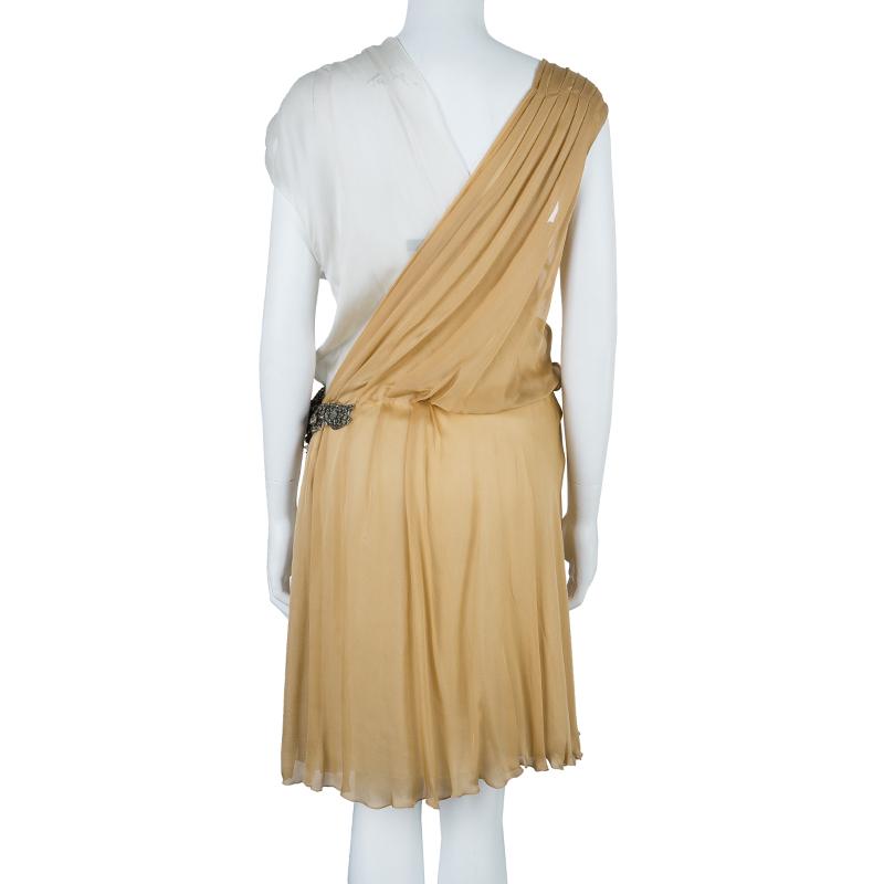 Alberta Ferretti Beige Gathered Dress M